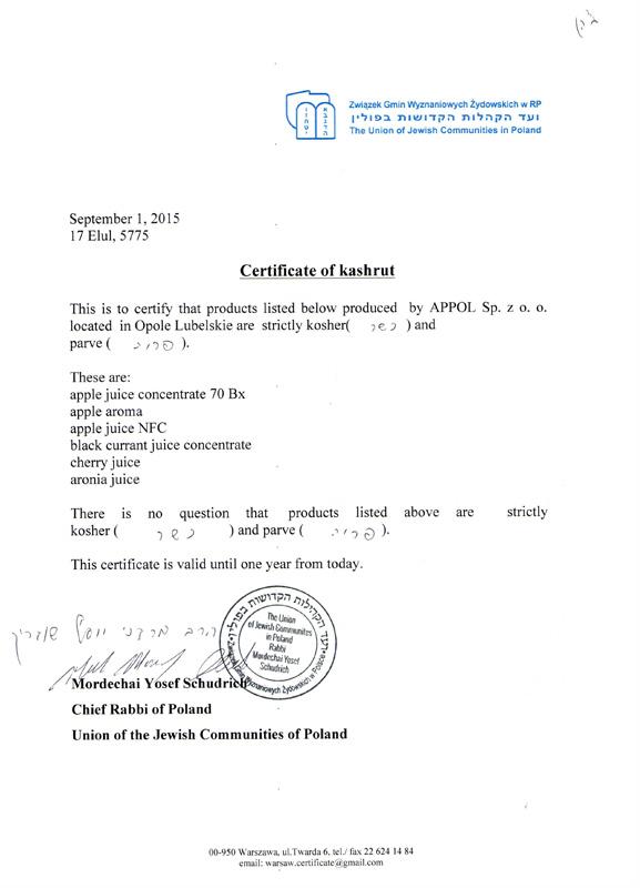 Certificate of kashrut
