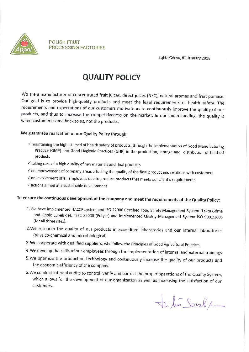 __Polityka Jakości Appol Quality Policy EN