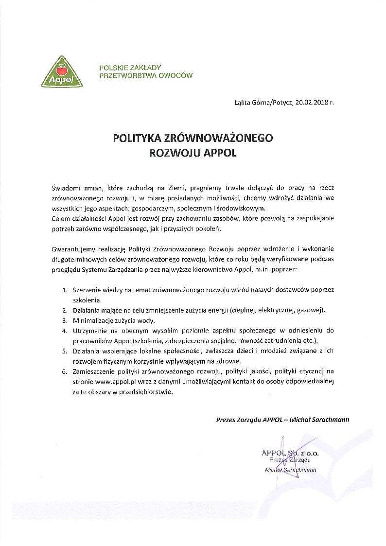 __Polityka Zrównoważonego rozwoju Appol (02 2018) podpisana